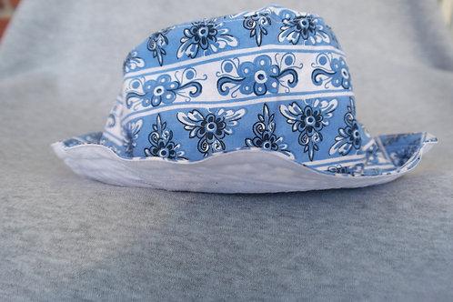 Zonnehoedje delfts blauw/wit