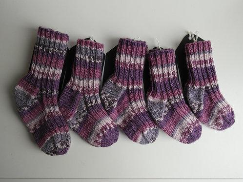 gebreide sokken paars/roze