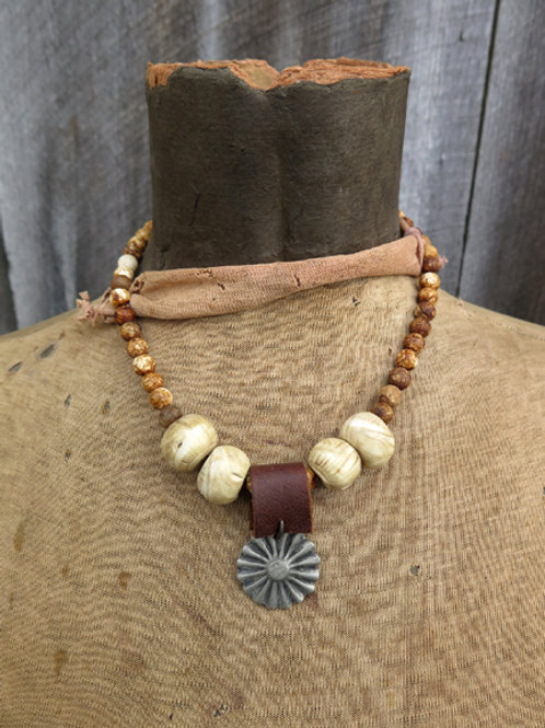 PEWTER SUN BURST CONCHO NECKLACE