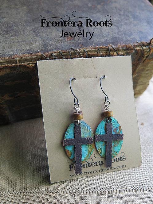 """""""Copper Cross"""" earrings"""