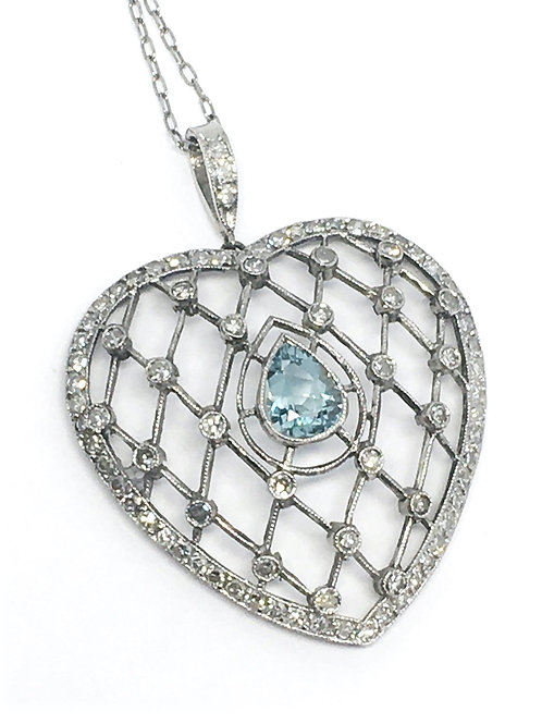 Platinum Heart Pendant with Aqua Center and Diamonds