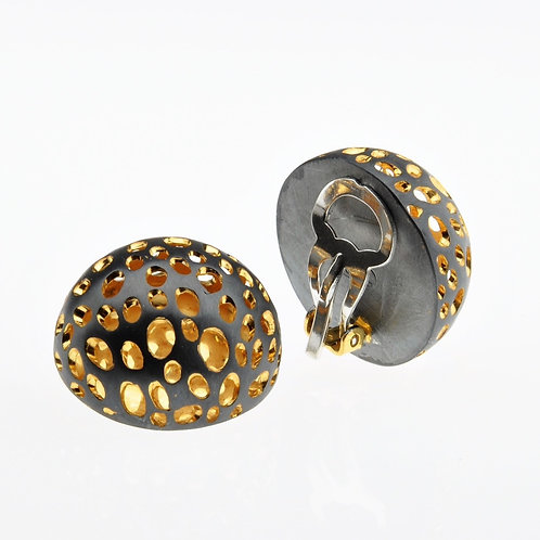 Oxidized / Gold Half Bowl Small Clip Earrings