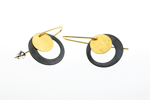 Oxidized / Golden Mini Round Earrings