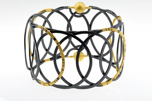 Oxidized / Gold Hoop Bracelet