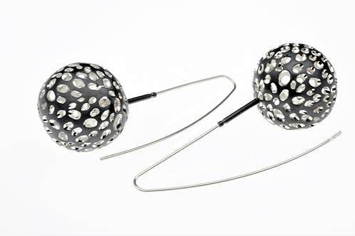 Oxidized / Silver Ball Dangle Earrings
