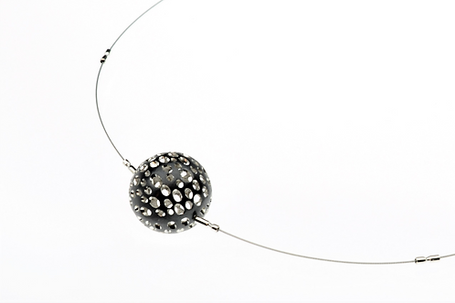 Oxidized / Silver Small Ball Necklace