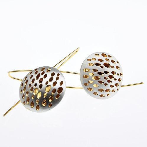 Silver / Gold Small Disc Dangle Earrings
