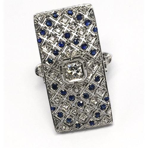 18K White Gold, 1920's, Diamond and Sapphire Ring (New Shank 18K)