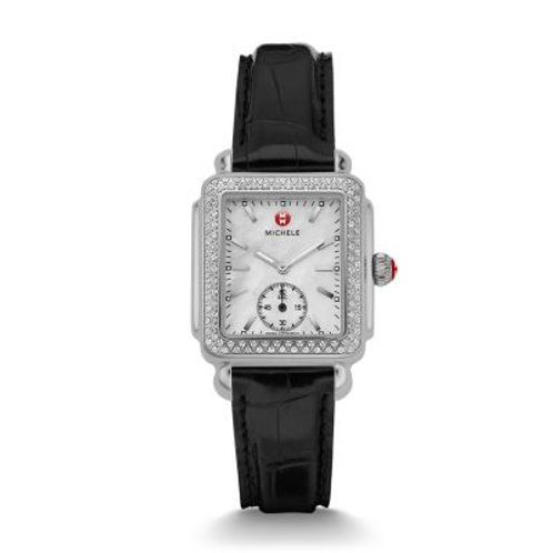Deco Mid Diamond Watch with Black Alligator Strap