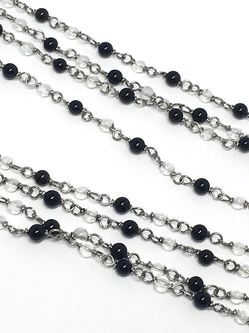 Long Rock Crystal and Black Onyx Chain