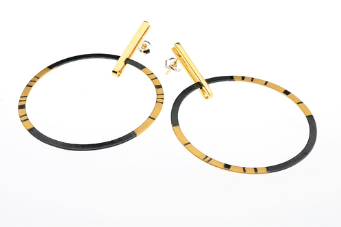Oxidized / Gold Large Hoop Earring