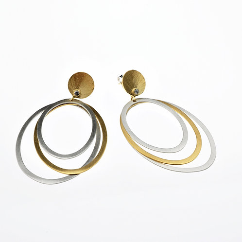 Oval Silver / Gold Dangle Earrings