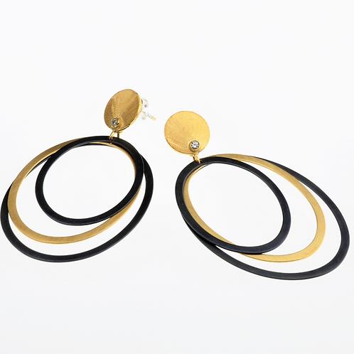 Oval Oxidized / Gold Dangle Earrings
