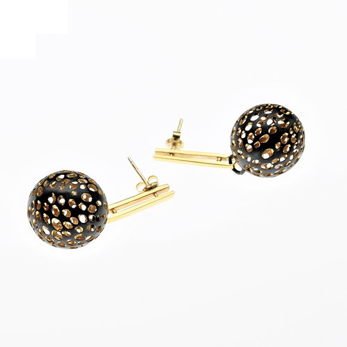 Oxidized / Gold Small Ball on Post Earrings