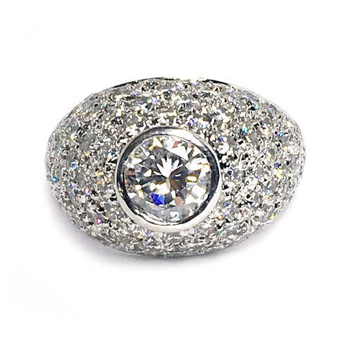 18K White Gold Dome Diamond Ring