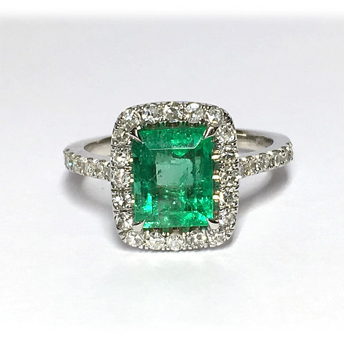 14KW Emerald Diamond Ring