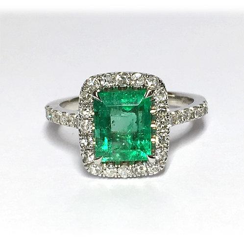 14KW Emerald Diamond Ring