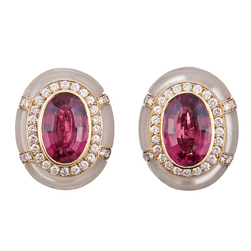 Rubelite, carved rock crystal, & diamond earrings