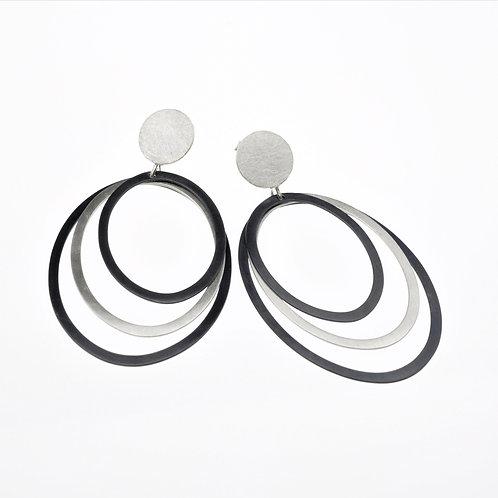 Oval Oxidized / Silver Dangle Earrings