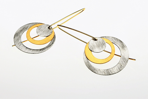 Silver / Gold Big Round Dangle Earrings