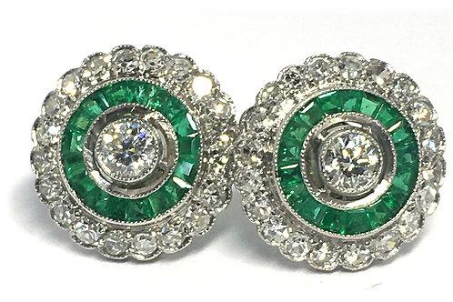 Platinum diamond and emerald earrings