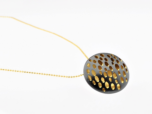 Oxidized / Gold Small Disc Necklace
