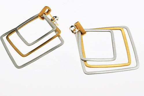 Silver / Gold Square Earrings