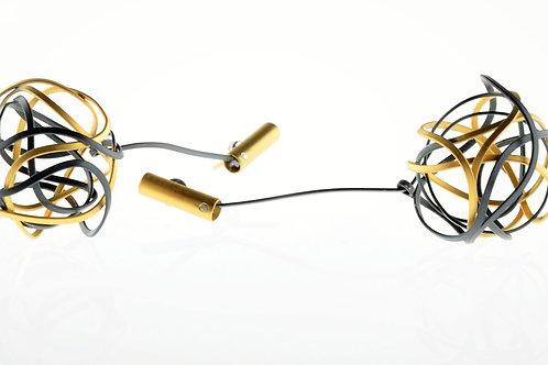 Oxidized / Gold Ball Dangle Earrings