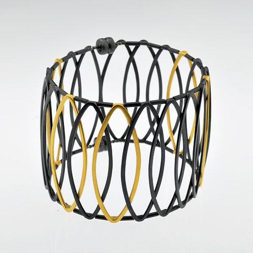Oxidized / Gold Small Hoop Bracelet