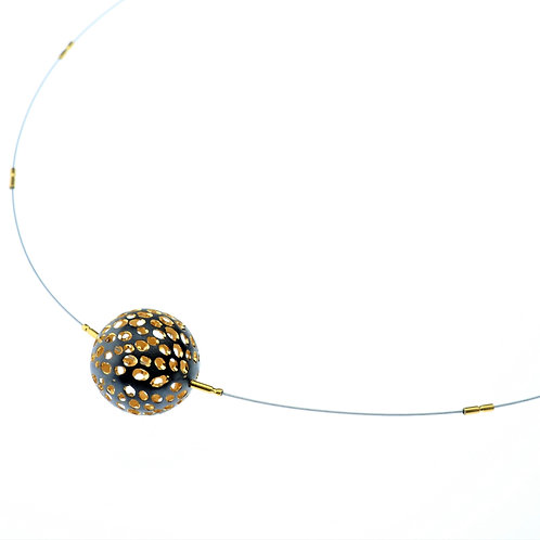 Oxidized / Gold Small Ball Necklace