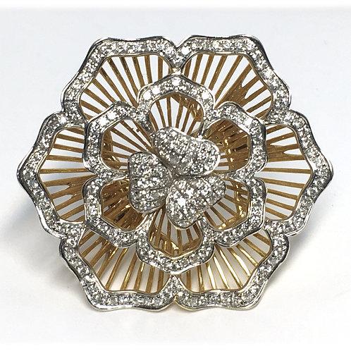 18K Gold Large Flower Ring