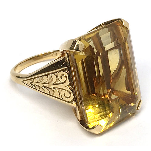 1950's Mid-Century Natural Unheated Citrine Ring