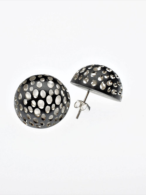 Oxidized / Silver Small Half Bowl Earrings