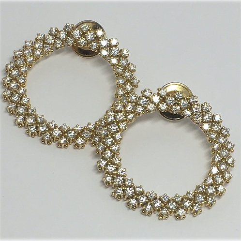 18K Yellow Gold Forward Facing Circle Earrings