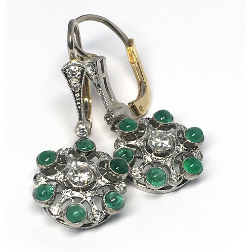 Deco Inspired Handmade Diamond and Sapphire Earrings