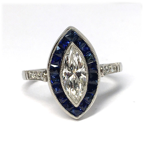 Platinum Marquise Cut Diamond and Sapphire Ring