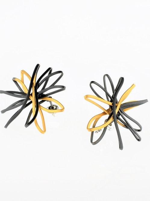 Oxidized / Gold Flower Earrings