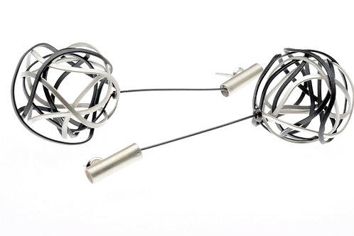Oxidized / Silver Ball Earrings