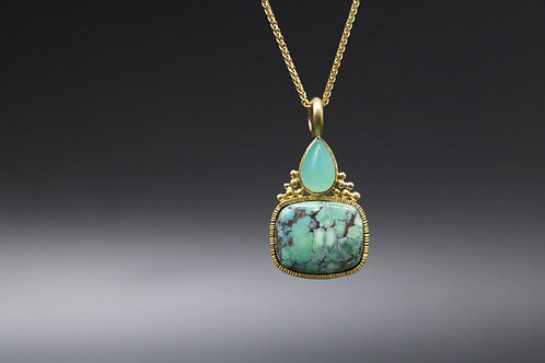 Turquoise and Chrysoprase Pendant (06736)