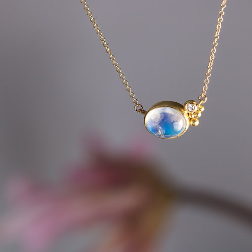 Moonstone and Diamond Necklace (06015)