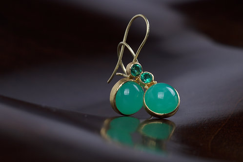Chrysoprase and Emerald Earrings (05090)