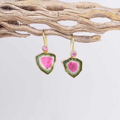Watermelon Tourmaline Earrings (04091)