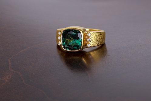 Tourmaline and Diamond Gold Ring (05144)