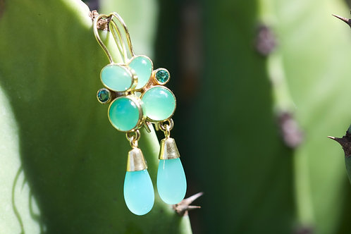 Chrysoprase and Emerald Earrings (05848)