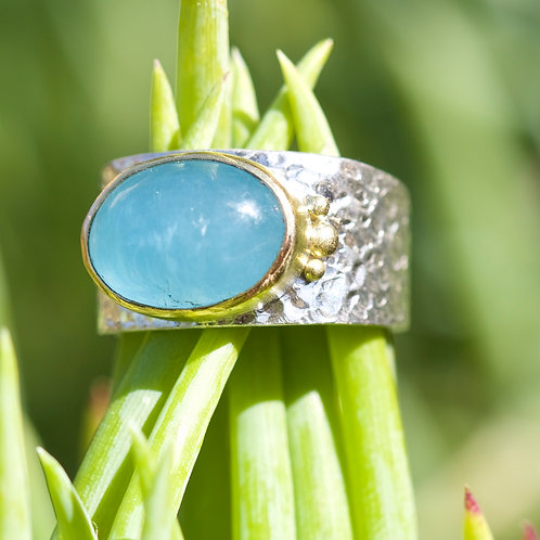 Aquamarine Textured Ring (05803)