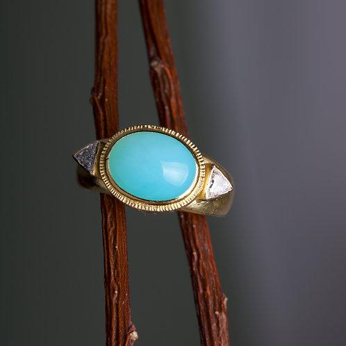 Peruvian Opal and Diamond Ring (06371)