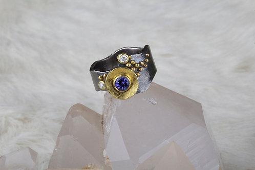Tanzanite and Diamond Freeform Ring (02843)