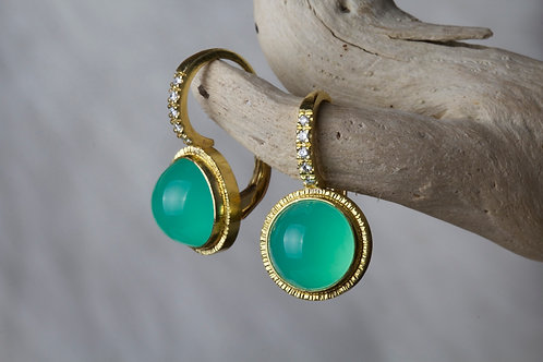 Imperial Chrysoprase Gold Earrings (02763)