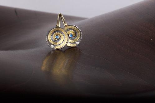 Moonstone and Gold Swirl Earrings (05386)