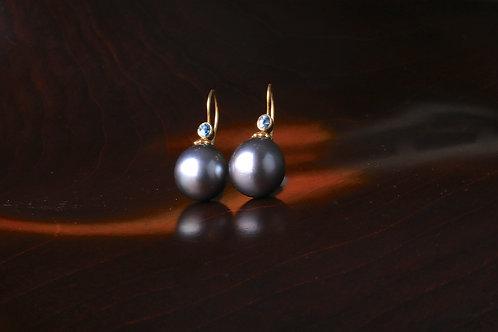 Tahitian Pearl and Blue Zircon Earrings (06934)
